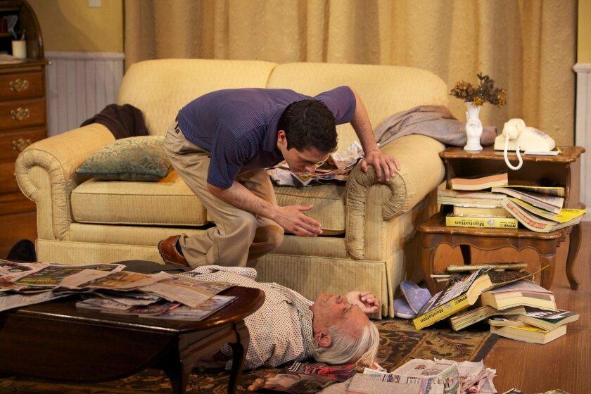 "Ross Gardiner (Craig De Lorenzo) finds Mr. Green (Robert Grossman) in much need of his help in Jeff Baron's ""Visiting Mr. Green"" at North Coast Repertory Theatre. CREDIT: Aaron Rumley"