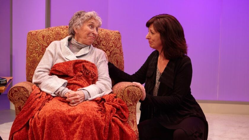 """Dee Maaske, left, and Elaine Rivkin in a scene from """"Marjorie Prime"""" at North Coast Repertory Theatre in Solana Beach."""