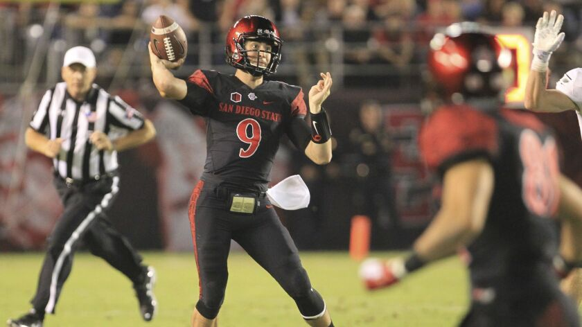 San Diego State quarterback Ryan Agnew passes in the first quarter against Eastern Michigan.