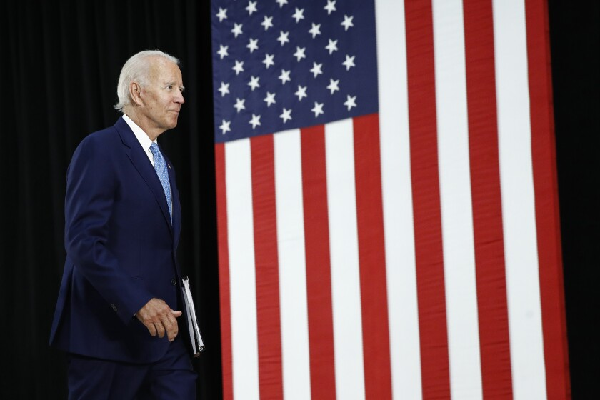 Former Vice President Joe Biden leaves stage
