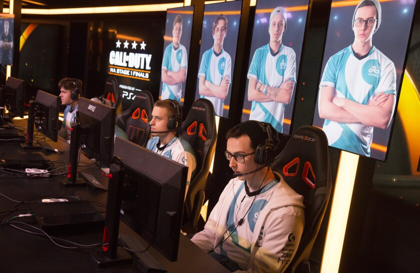 """A Cloud9 """"Call of Duty"""" team participates in a match held at a Burbank studio in April."""