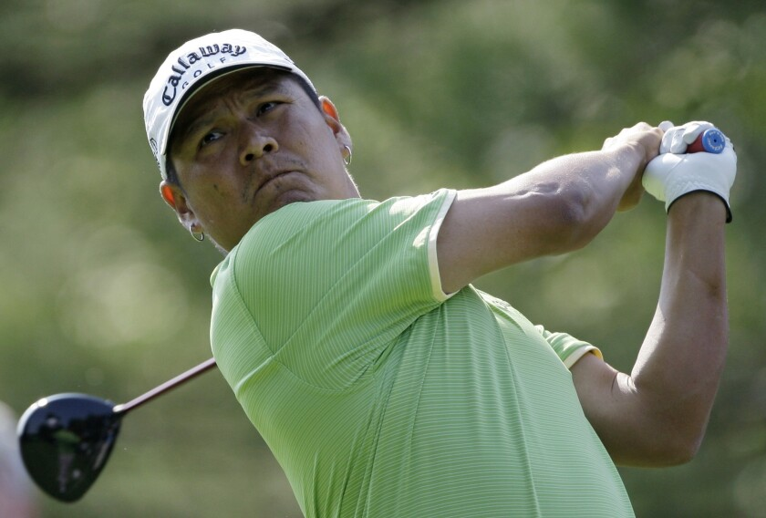 Notah Begay III, shown here in 2008,  joined Al Geiberger and Chip Beck on this date in 1998 as the only players to shoot a 59 on a U.S. pro golf tour.