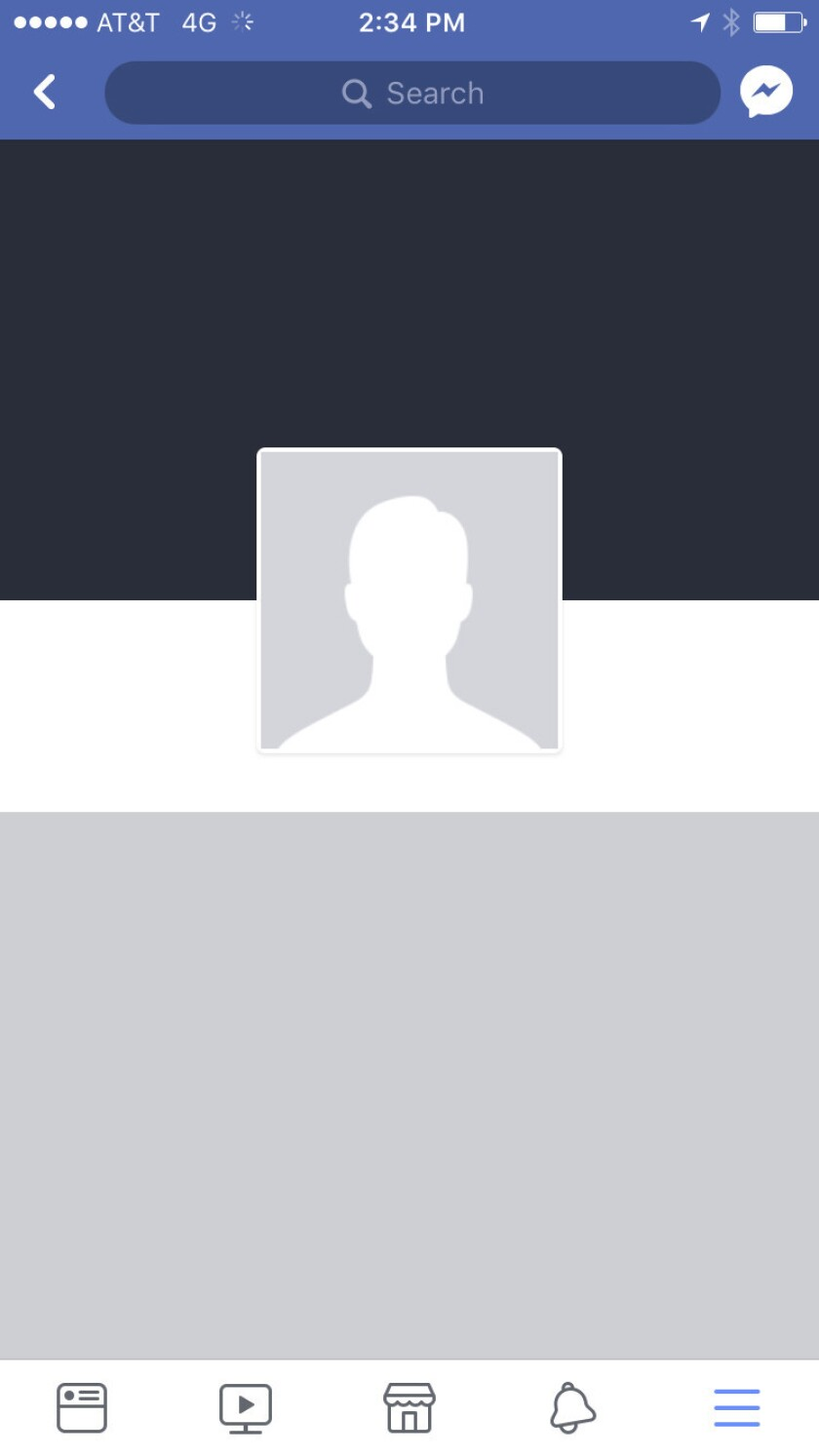 Esta imagen de pantalla tomada el miércoles, 21 de marzo del 2018 en Nueva York, muestra una página de perfil de Facebook recientemente borrada.
