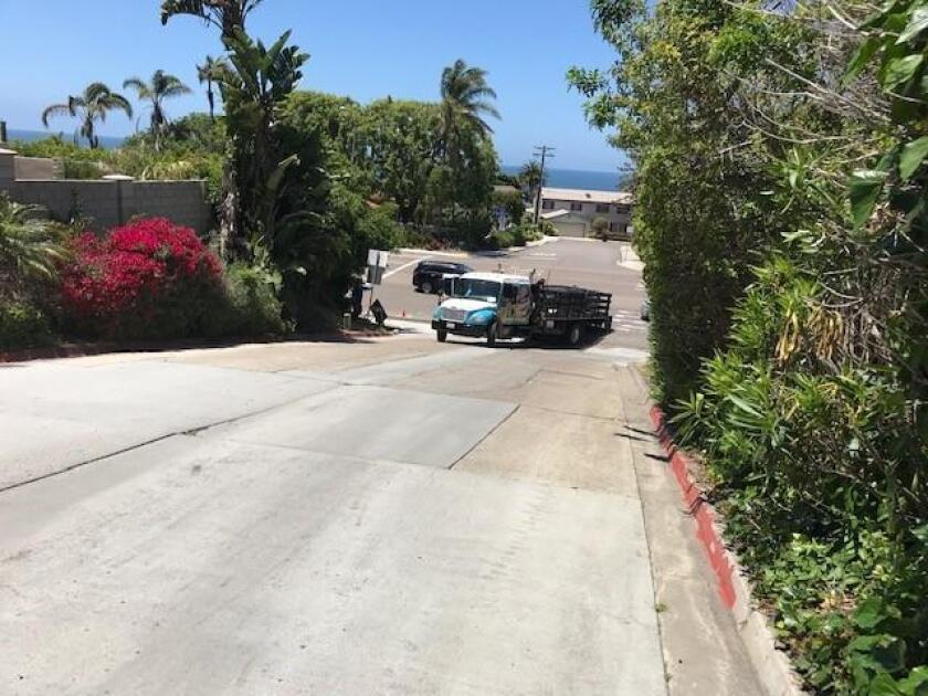 STUCK TRUCK SAGA CONTINUES: Another stuck truck on Hillside Drive! This photo was taken on May 28. This situation is really making me sick! — Susan McKean