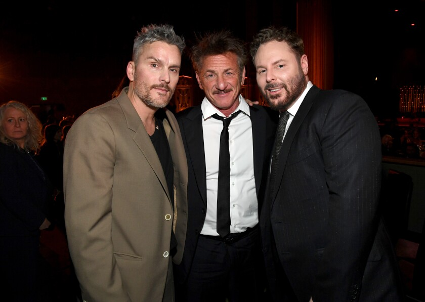 Balthazar Getty, from left, Sean Penn and Sean Parker at the CORE Gala at the Wiltern in Los Angles on Wednesday.