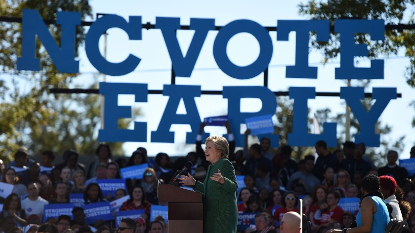 Hillary Clinton has been urging supporters to vote early in North Carolina.