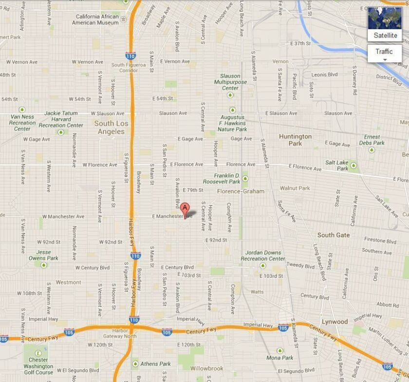 Map shows the approximate location of where a 24-year-old Pomona woman was fatally wounded in what authorities believe was a drive-by shooting in South Los Angeles on Christmas Day.