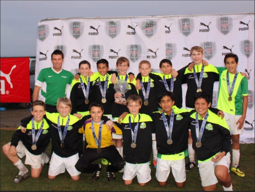 The Rancho Santa Fe Attack Boys U13 Premier team.