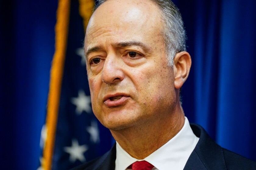 U.S. Attorney Nick Hanna speaks at a news conference in 2020