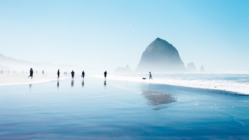 Haystack Rock at Cannon Beach, Ore., at low tide.
