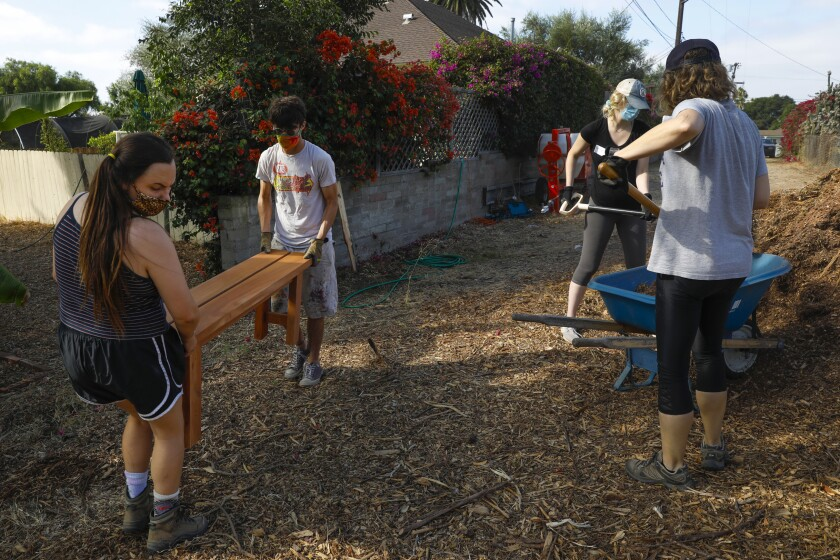 Volunteers spread mulch at Olivewood Gardens and Learning Center in National City.