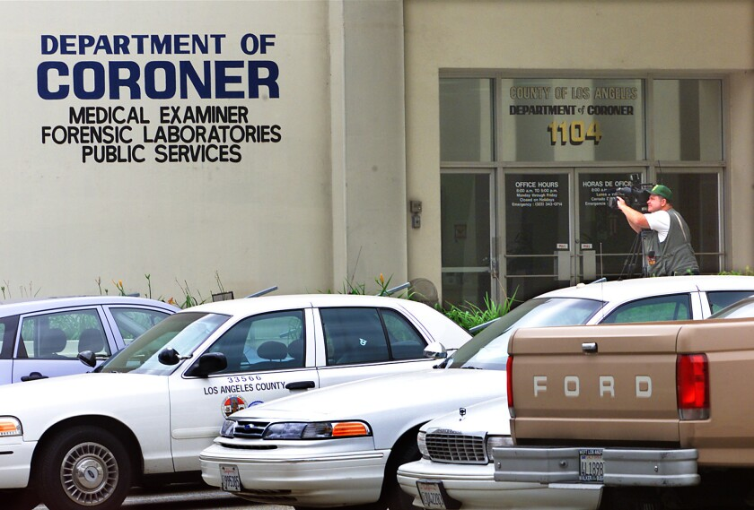 The Los Angeles County coroner suspects that a staff member leaked details regarding a stolen leg.