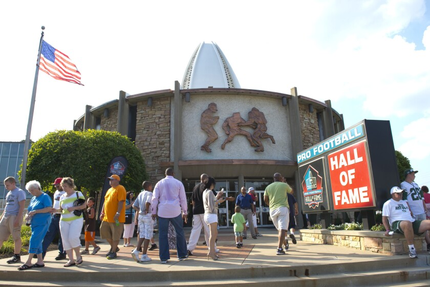 The Pro Football Hall of Fame in Ohio. A proposed bill in California would ban players from professional sports teams based outside of the state from filing workers' compensation claims.