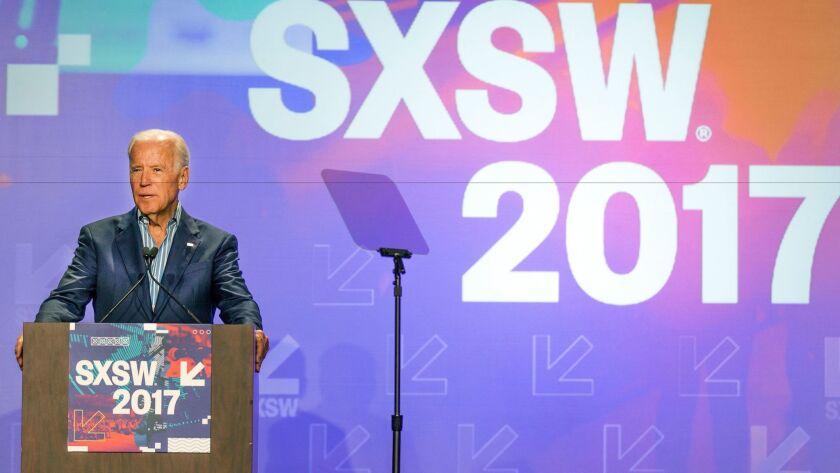 Former Vice President Joe Biden outlines his plan for cancer initiative during a panel at South by Southwest in Austin, Texas.