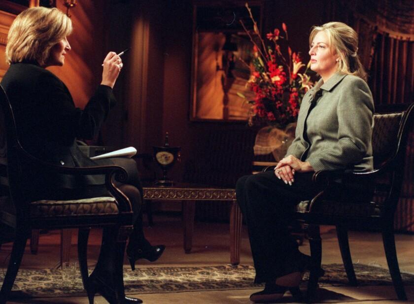 "Linda Tripp is interviewed by NBC News show ""Today"" correspondent Jamie Gangel in 1999."