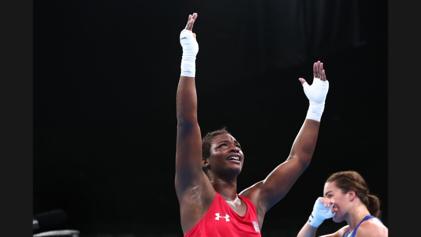 Claressa Shields celebrates after beating Nouchka Fontijn, of the Netherlands, in the women's middleweight final in 2016.