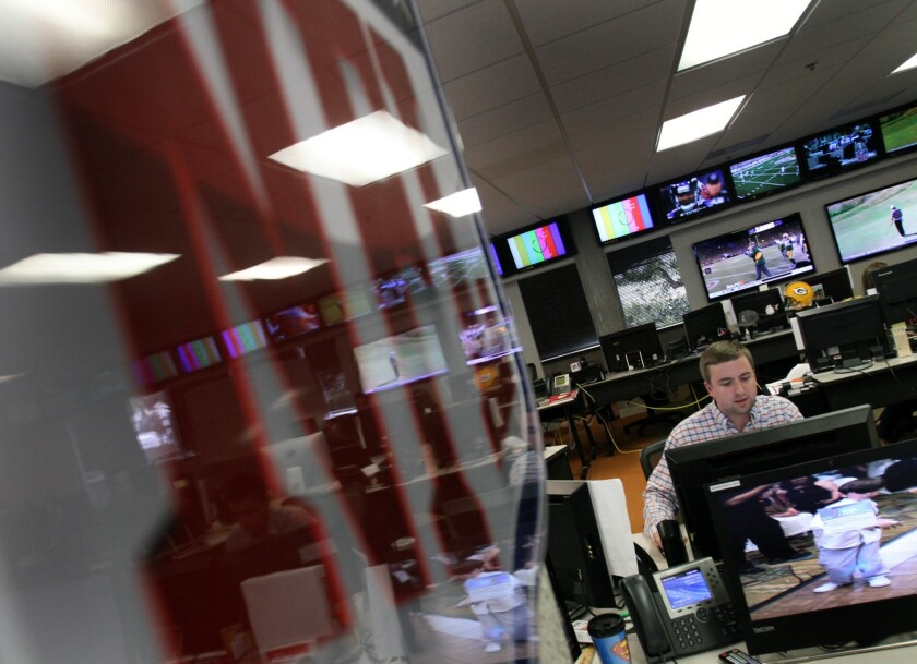 Inside the newsroom at the NFL's digital media studio in Culver City.