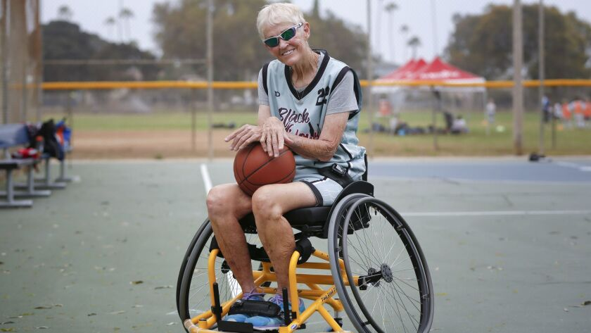 74-year old Keri Gloynal takes a brief break from basketball practice in Ocean Beach.
