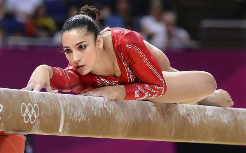 Aly Raisman competes in London.