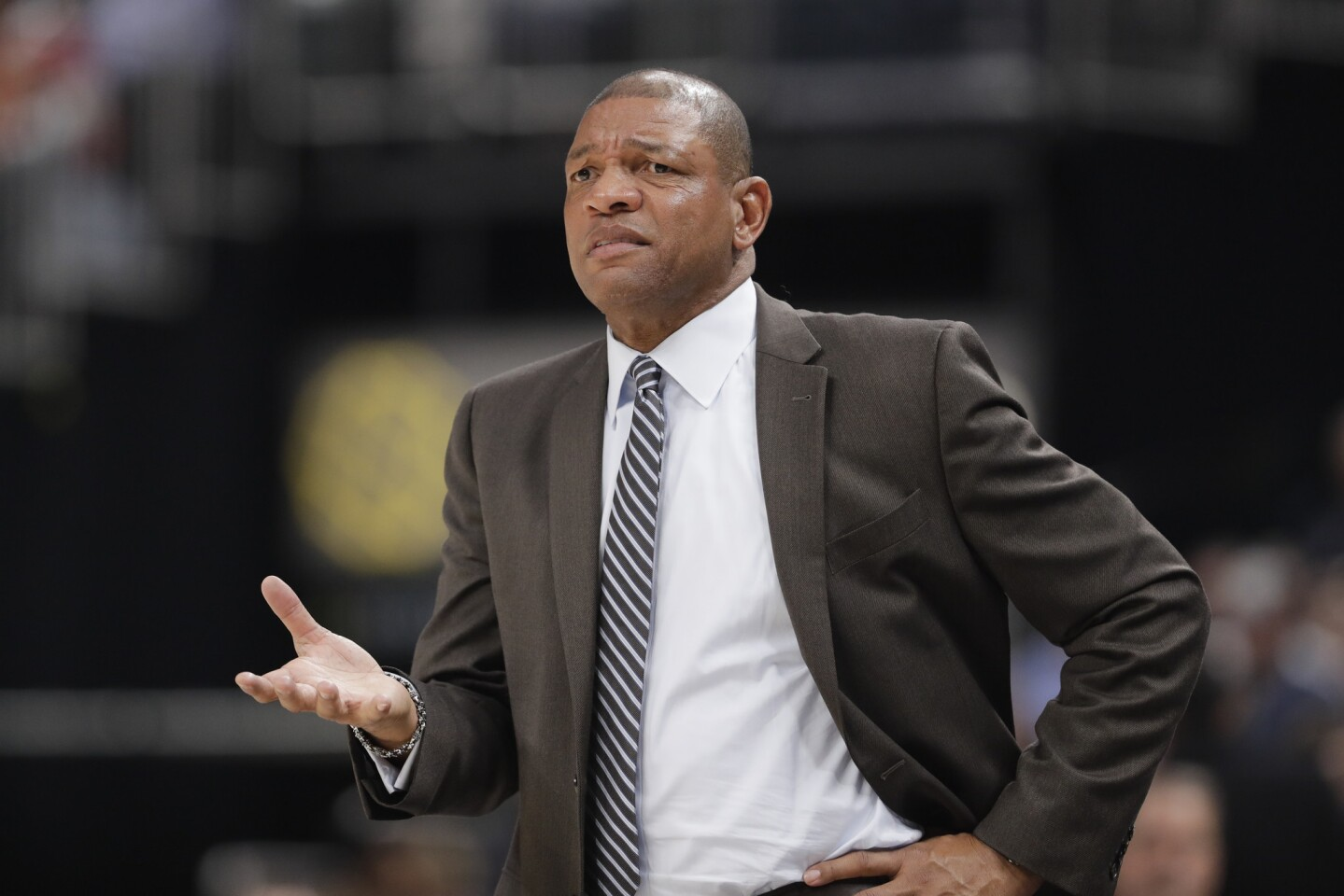 Los Angeles Clippers head coach Doc Rivers calls a play during the second half of an NBA basketball game against the Indiana Pacers, Thursday, Feb. 7, 2019, in Indianapolis. Indiana won 116-92. (AP Photo/Darron Cummings)