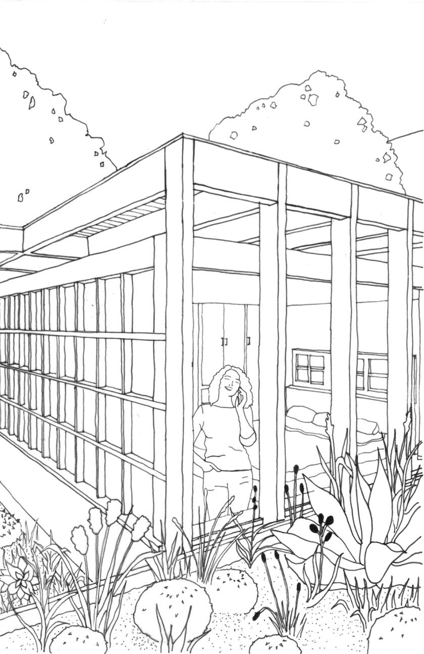 A black-and-white drawing looks in from a garden area to a bedroom where a woman speaks on the phone