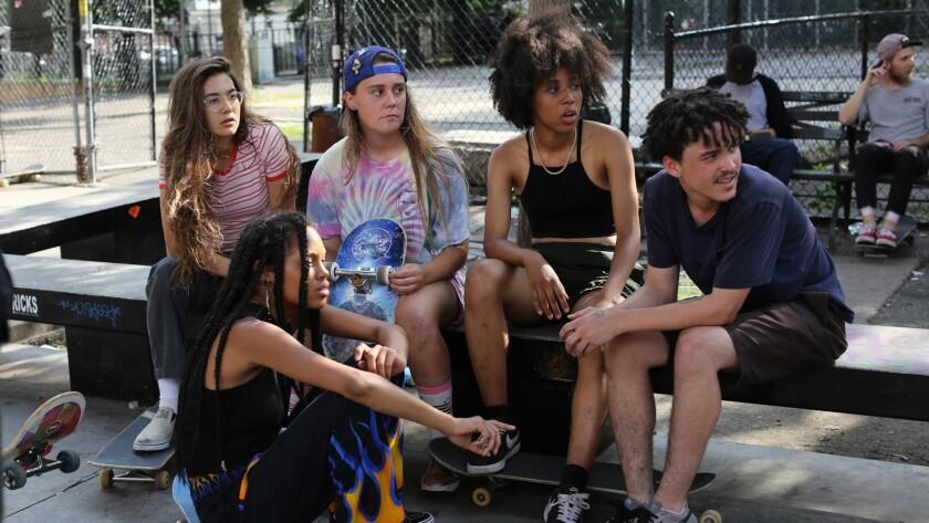 "(L-R) - Rachelle Vinberg, Ajani Russell, Nina Moran, Dede Lovelace and Alexander Cooper ""SKATE KITCH"