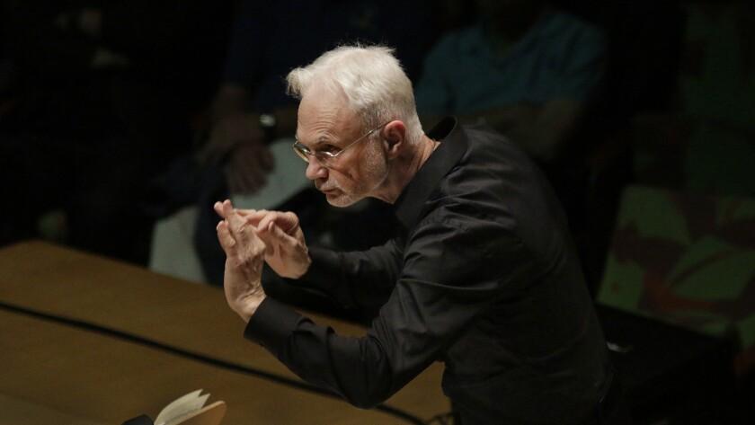 "LOS ANGELES, CA MAY 26, 2015. John Adams, conducting LA Phil New Music Group in Dylan Mattingly's ""S"