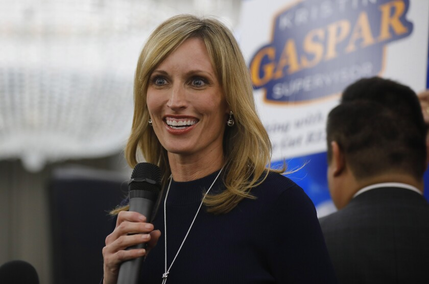 Supervisor Kristin Gaspar was leading two challengers in early returns Tuesday night.
