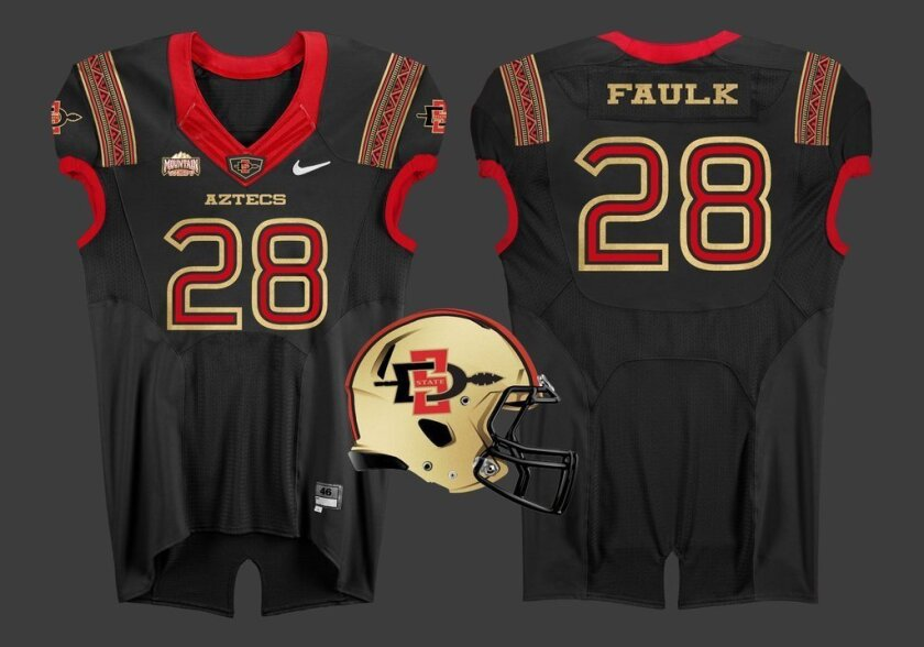 Alternate Aztecs football jersey? Here's a fan's wishful thinking. Jake Nevill designed these. It's a hobby of his.