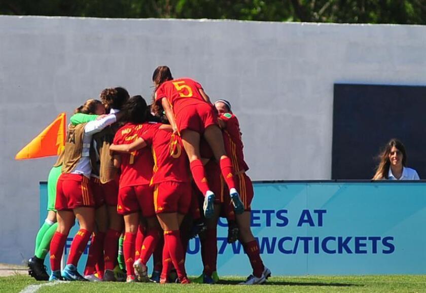 Jugadoras España festejan un gol de Claudia Pina durante un partido de los cuartos de final de la Copa Mundial Femenina Sub-17. EFE/Archivo