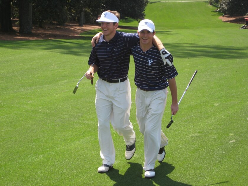 San Diegans Seve Gonzales (left) and Ben Wescoe walked up the 18th fairway at Augusta National Golf Club during a 2009 round when they were teammates at Yale.