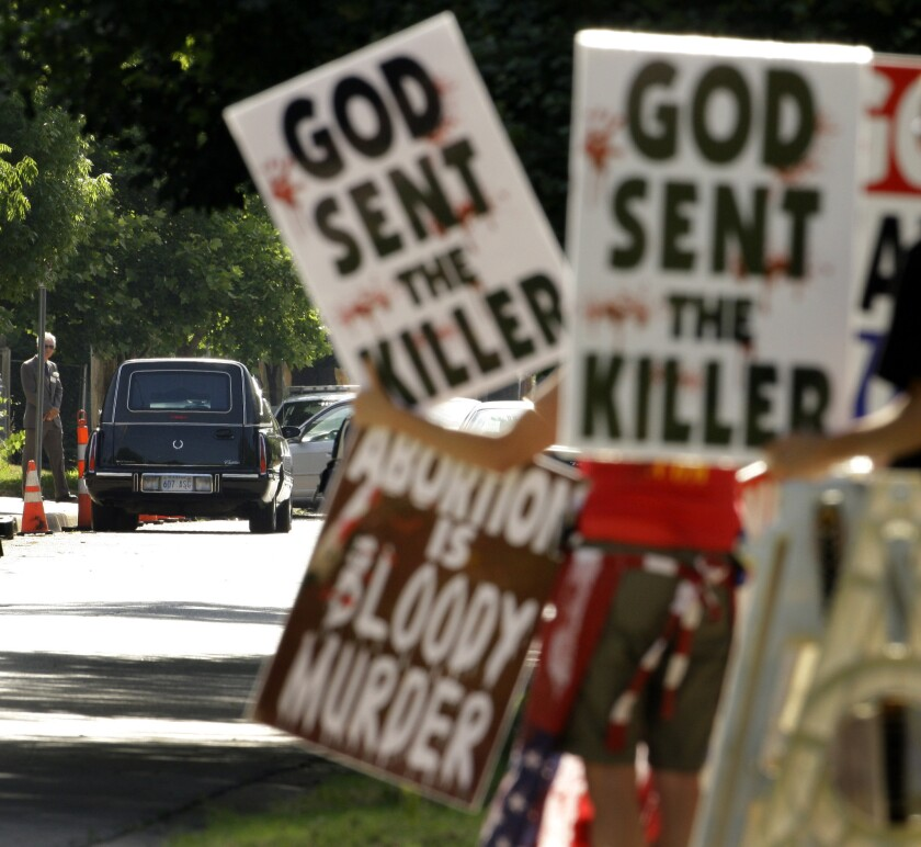 On June 6, 2009, protesters from Rev. Fred Phelps' Westboro Baptist Church demonstrated during funeral services for Dr. George Tiller at College Hill United Methodist Church in Wichita, Kan.