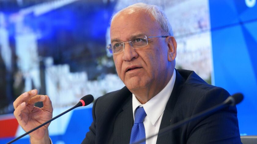 3009577 01/13/2017 Saeb Erekat, Secretary General of the Palestine Liberation Organization, gives a