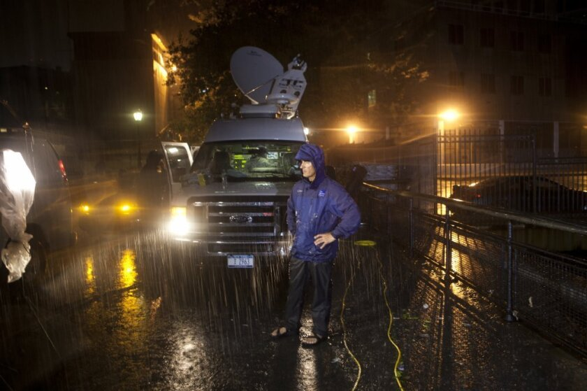 Weather Channel reporter Jim Cantore covering Hurricane Irene.
