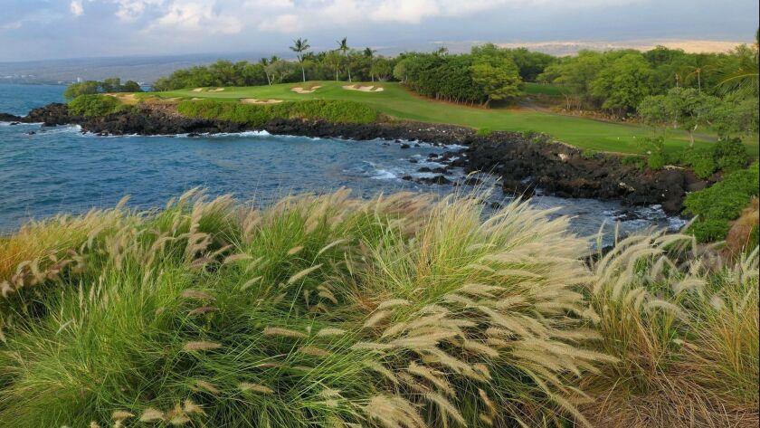 Mauna Kea's spectacular golf course lies partly alongside the ocean. Doug Hansen photo