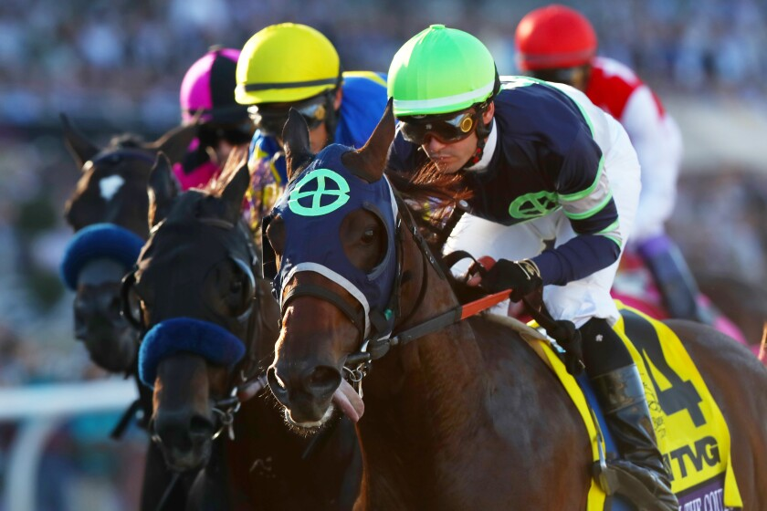 Authentic, with Drayden Van Dyke aboard, wins the San Felipe Stakes on March 7, 2020, at Santa Anita.