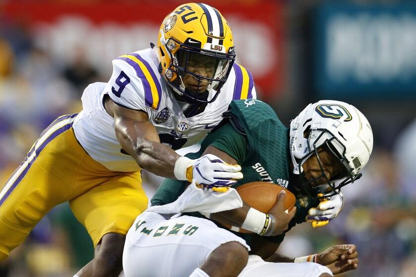 Louisiana State safety Grant Delpit sacks Southeastern Louisiana's Chason Virgil in September.