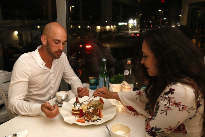 Blind Daters sharing their dessert platter at Verandina