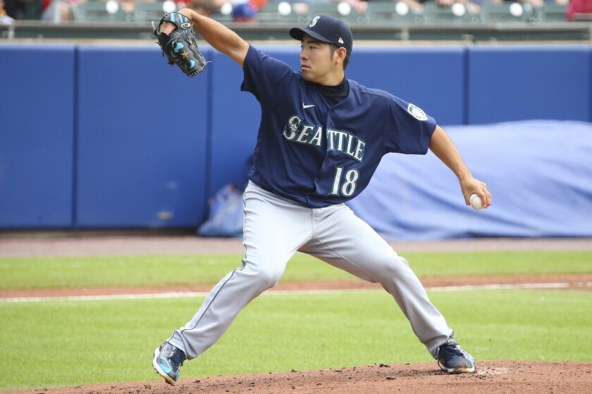 Seattle Mariners starting pitcher Yusei Kikuchi throws to the Toronto Blue Jays during the first inning of a baseball game, Thursday, July 1, 2021, in Buffalo, N.Y. (AP Photo/Jeffrey T. Barnes)