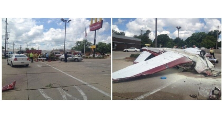 A small plane crashed in the parking of a McDonald's restaurant in Monroe, La., on Tuesday. The pilot suffered serious injuries.