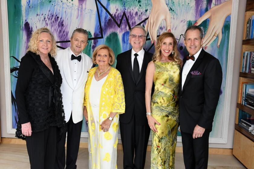 La Jolla Music Society president and artistic director Kristin Lancino and Thierry Lancino, gala hosts Joan and Irwin Jacobs, gala chair and LJMS board chair Katherine Chapin and Dane Chapin