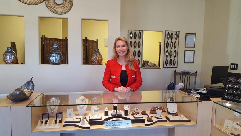La Jolla resident and environmental scientist-turned-jewelry designer Suzanne Deeb Naboulsi in her Timeless Treasures store at 7703 Fay Ave., La Jolla. (858) 454-1929