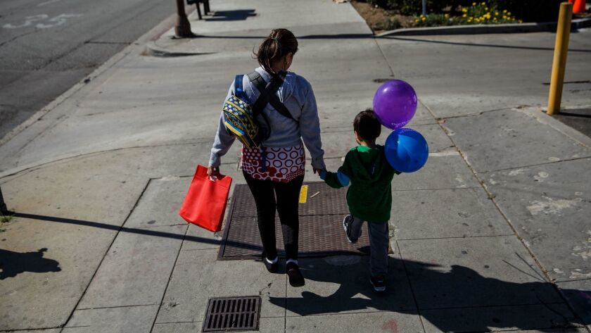 An undocumented Salvadoran immigrant says she is now afraid to go out on walks with her son in Huntington Park, Calif. on Feb. 22, 2017.