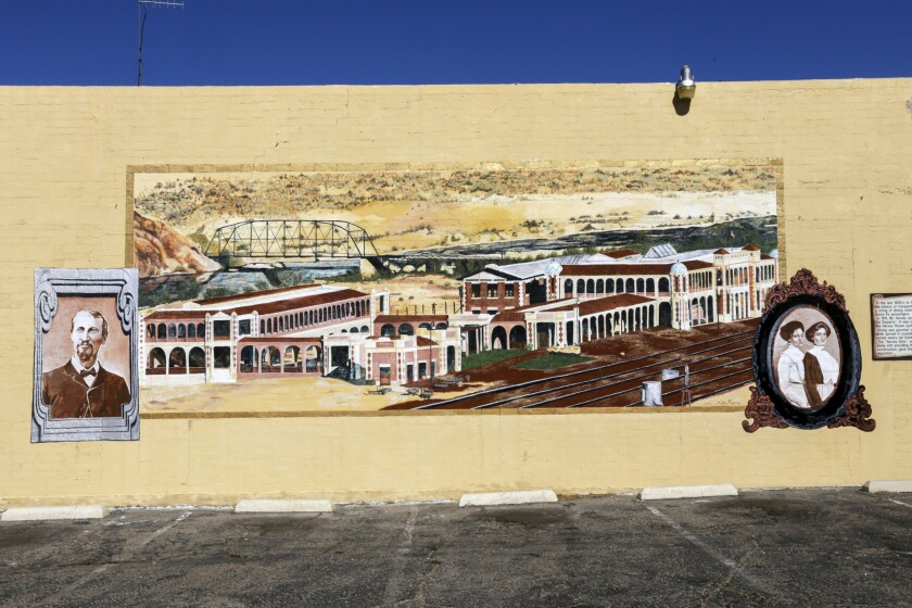The Harvey House mural sits along Barstow's Main Street, which is part of America's most iconic road, Route 66. (Irfan Khan / Los Angeles Times)