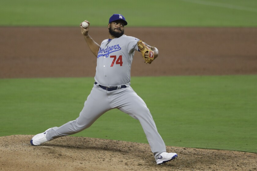 Dodgers closer Kenley Jansen pitches against the San Diego Padres on Aug. 4