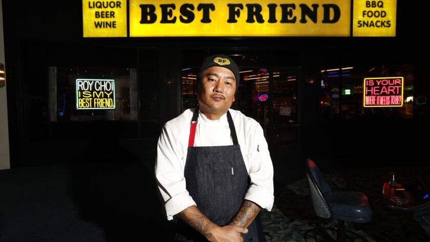 Chef Roy Choi is photographed in front of his new restaurant, Best Friend, located inside the Park MGM hotel on the Las Vegas Strip.