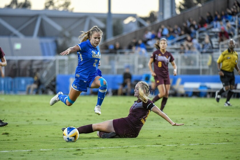 UCLA's Ashley Sanchez plays for UCLA women's soccer team in 2018.
