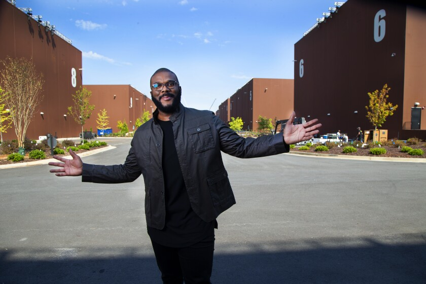Tyler Perry shows off the soundstages of Tyler Perry Studios.