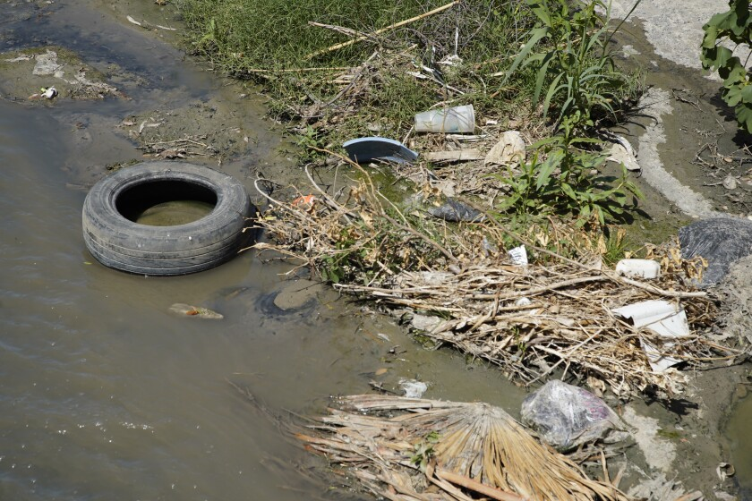In Colonia Chula Vista sewage water and trash flow in the storm drain on June 30th, 2020 in Tijuana.