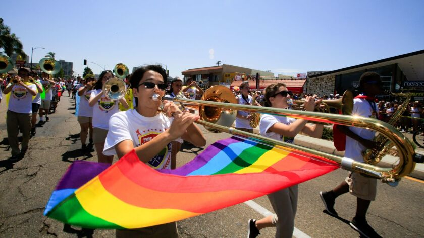 Members of the Pride Youth Marching Band perform during the San Diego Pride Parade.